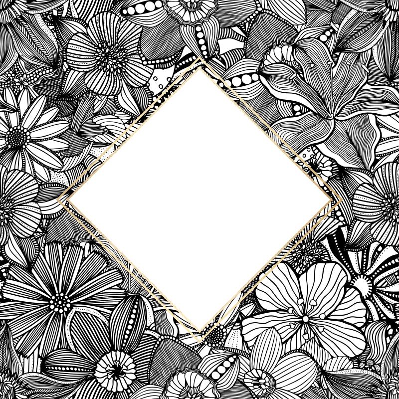 פרחים שחור לבן - 1